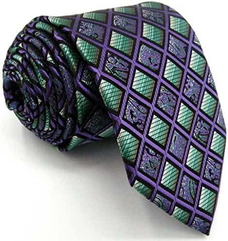 Shlax&Wing Checkered Mens Ties Purple Green Neckties for Men
