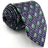 Shlax&Wing Checkered Mens Ties Purple Green Neckties for Men