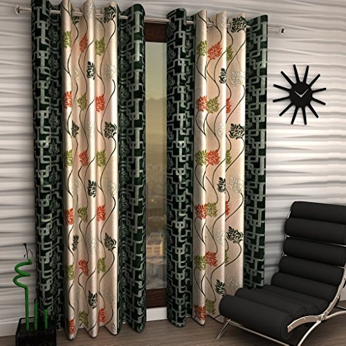 Super India Floral 1 Piece Eyelet Polyester Window Curtain – 5ft , Green