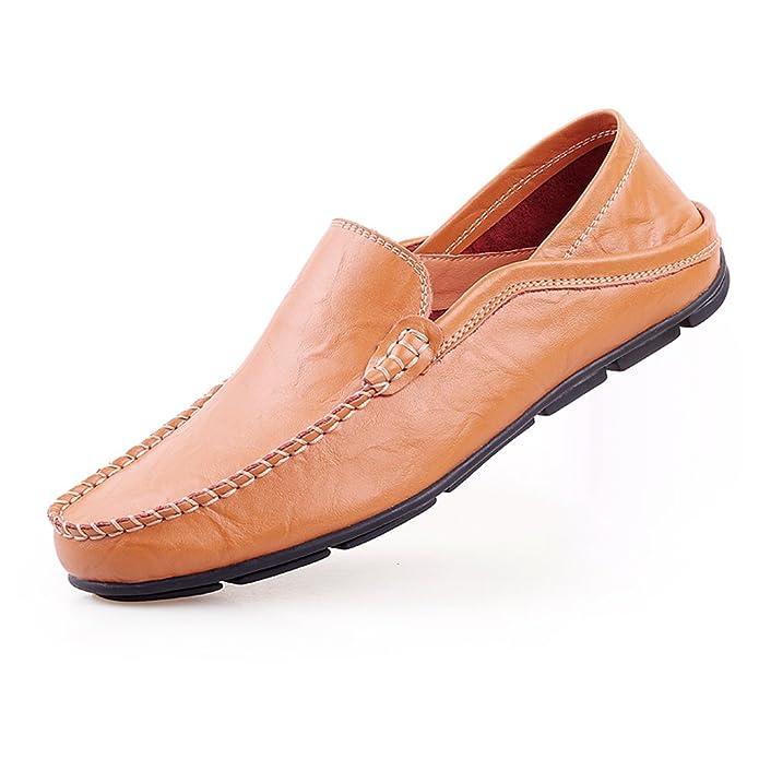 Shenn Herren Mode Schlüpfen Mokassins Beiläufig Leder Halbschuhe Schuhe 20138 (Bräunen,EU44.5)