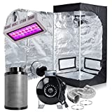 Hydrobest 300W LED Grow Light Full Spectrum + Grow Tent + 4'' Inline Fan Carbon Air Filter Ducting Combo for Hydroponic Indoor Plants Growing (24''x24''x48'' grow tent kit)