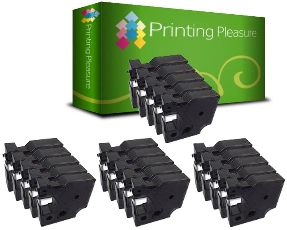 12mm x 7m Printing Pleasure 5 x D1 45021 S0720610 Blanco sobre Negro Cinta Compatible con Dymo/LabelManager 160 210D 220P 260P 280 360D 420P 450D 500TS PnP /& LabelPoint /& LabelWriter 450 Duo