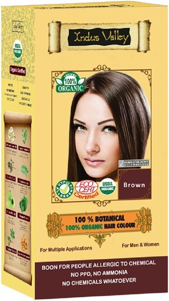Color de tinte para el cabello a base de hierbas, 100% orgánico, 100% orgánico, marrón para hombres y mujeres 100% sin químicos, sin PPD, sin amoníaco, sin peróxido ni metales pesados (Brown)
