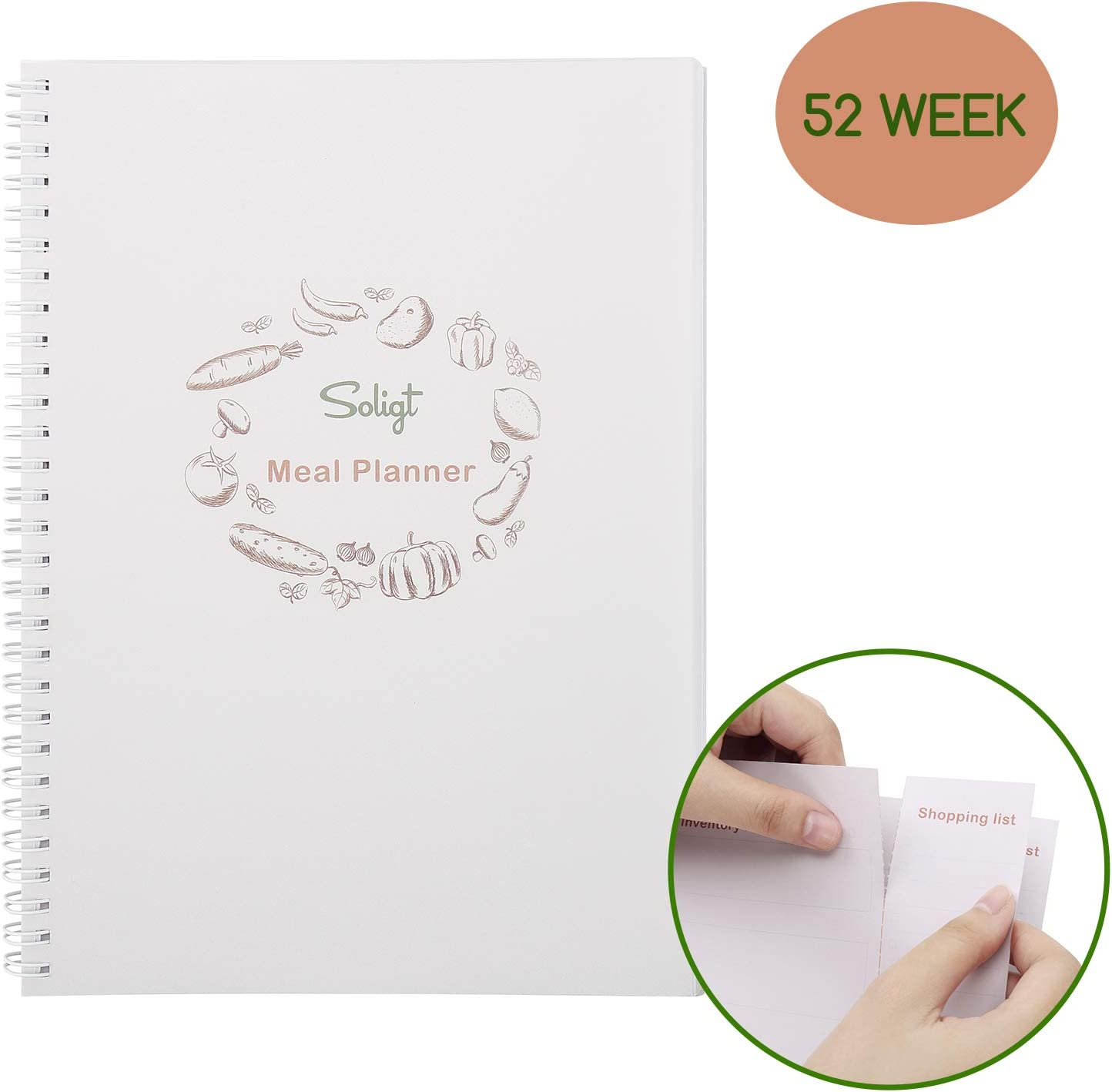 Soligt Weekly Meal Planner with Easy Tear Off Grocery List & Expense Tracker Organizer, 52 Weeks
