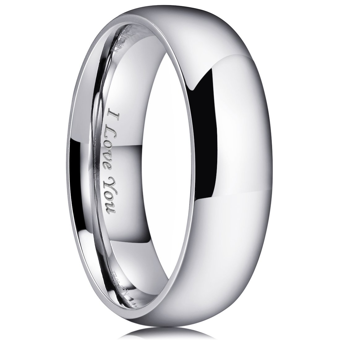 King Will BASIC 7mm Stainless Steel Ring Original Color Full High Polished with Laser Etched I Love You(10)