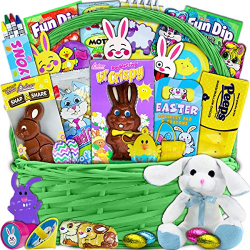 Green Easter Basket for Kids and Adults 30ct - Already Filled Easter Gift Basket with Plush Easter Bunny, Chocolate, Candy, and Toys - Boys, Girls, Grandchildren, Young Children, Toddlers, Men, -