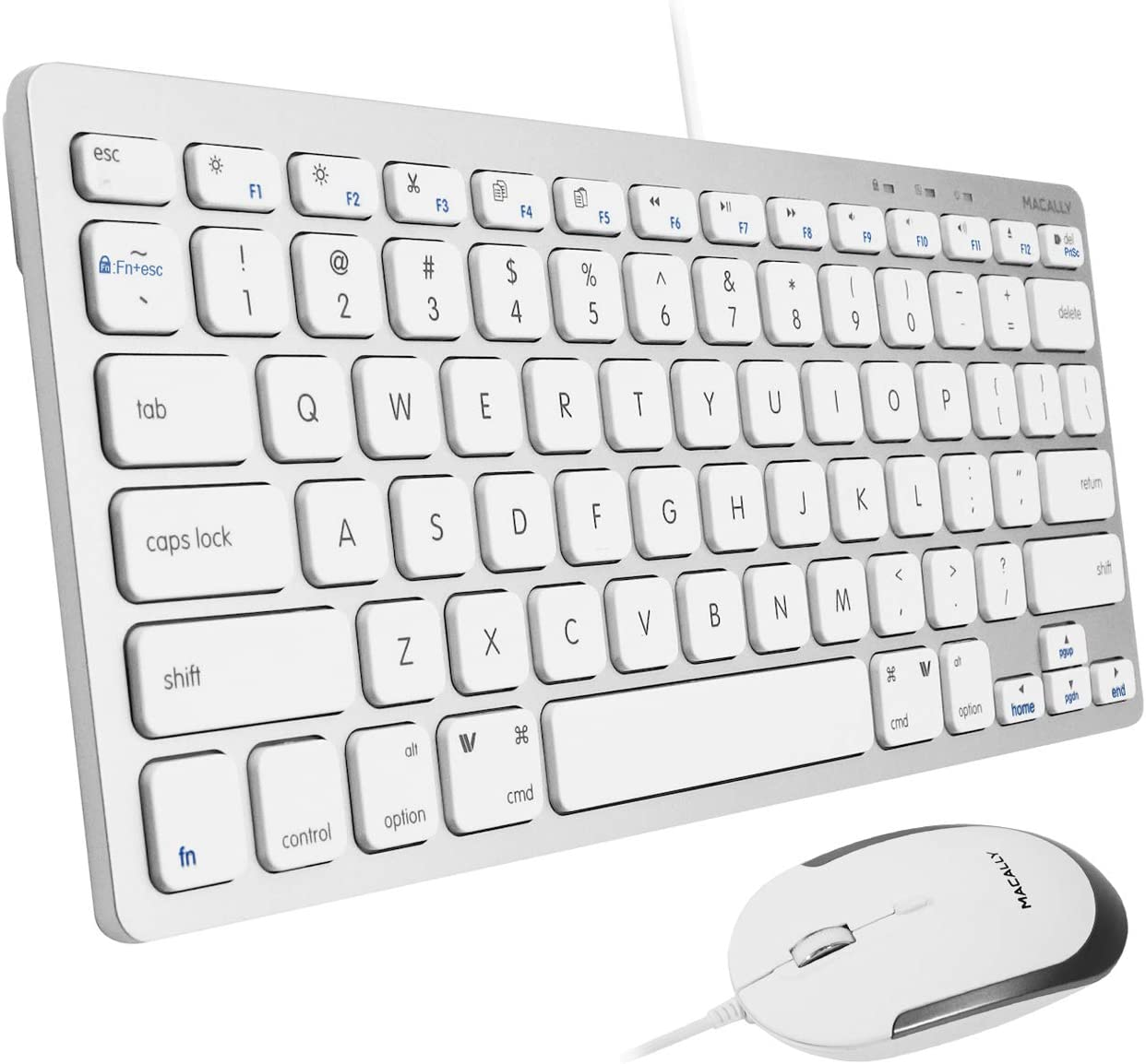 Macally Mini Keyboard and Mouse Combo for Mac and PC - Save Space and Enhance Workflow - Aluminum Compact Keyboard with 78 Slim Keys and (Quiet Click) Silent Mouse - Sleek USB Keyboard and Mouse Wired