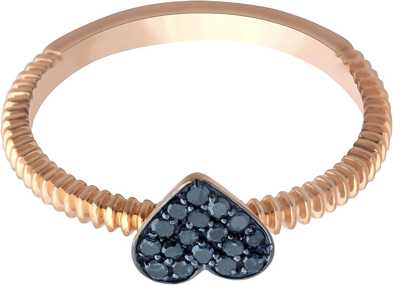 10k Gold Ring Goldenstar 0.11Ct Green Diamond Heart Shape Valentine