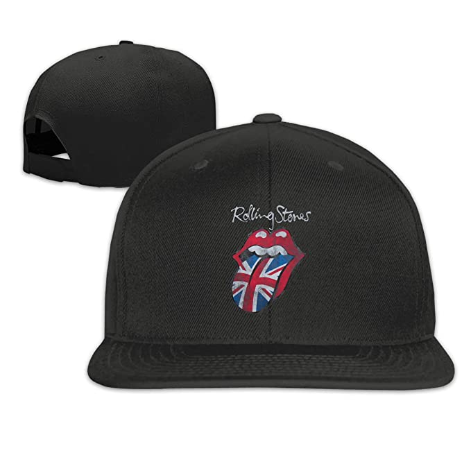 3a27f1254 BXNOOD The Rolling Stones Distressed Union Jack Flat Bill Snapback  Adjustable Sun Cap Hat Black