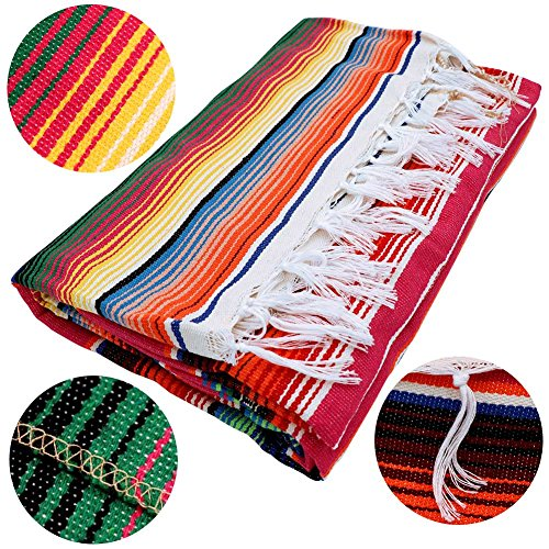 OurWarm 59 x 84 inch Mexican Blanket Tablecloth for Mexican Wedding Party Decorations, Large Square Cotton Mexican Serape Table Cloth by OurWarm (Image #1)
