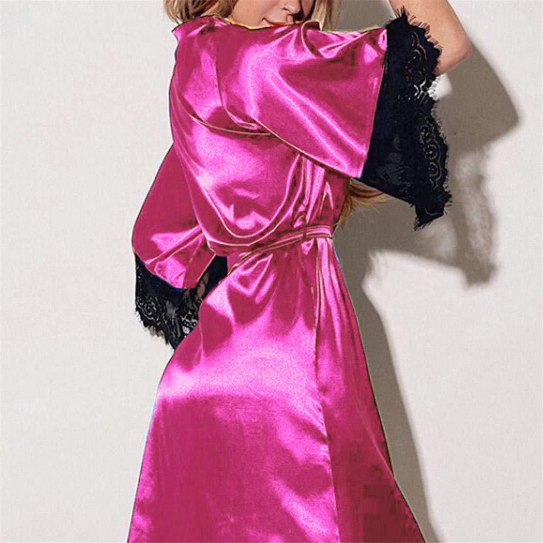 Amazon.com: DORIC Women Sexy Silk Kimono Dressing Babydoll Lace Lingerie Belt Bath Robe Nightwear: Clothing