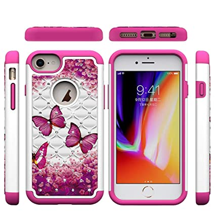 iPhone 6/6S/7/8 Case,Slim Durable 2 in 1 Hybrid Case Back Cover Hard PC with Creative Pattern & Point Drill Inner Soft TPU Bumper Case Compatible with ...