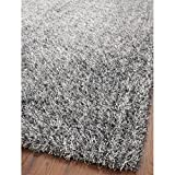 Safavieh SG531-7612-24 New Orleans Shag Collection Platinum/Ivory Polyester Area Rug, 2-Feet 6-Inch by 4-Feet