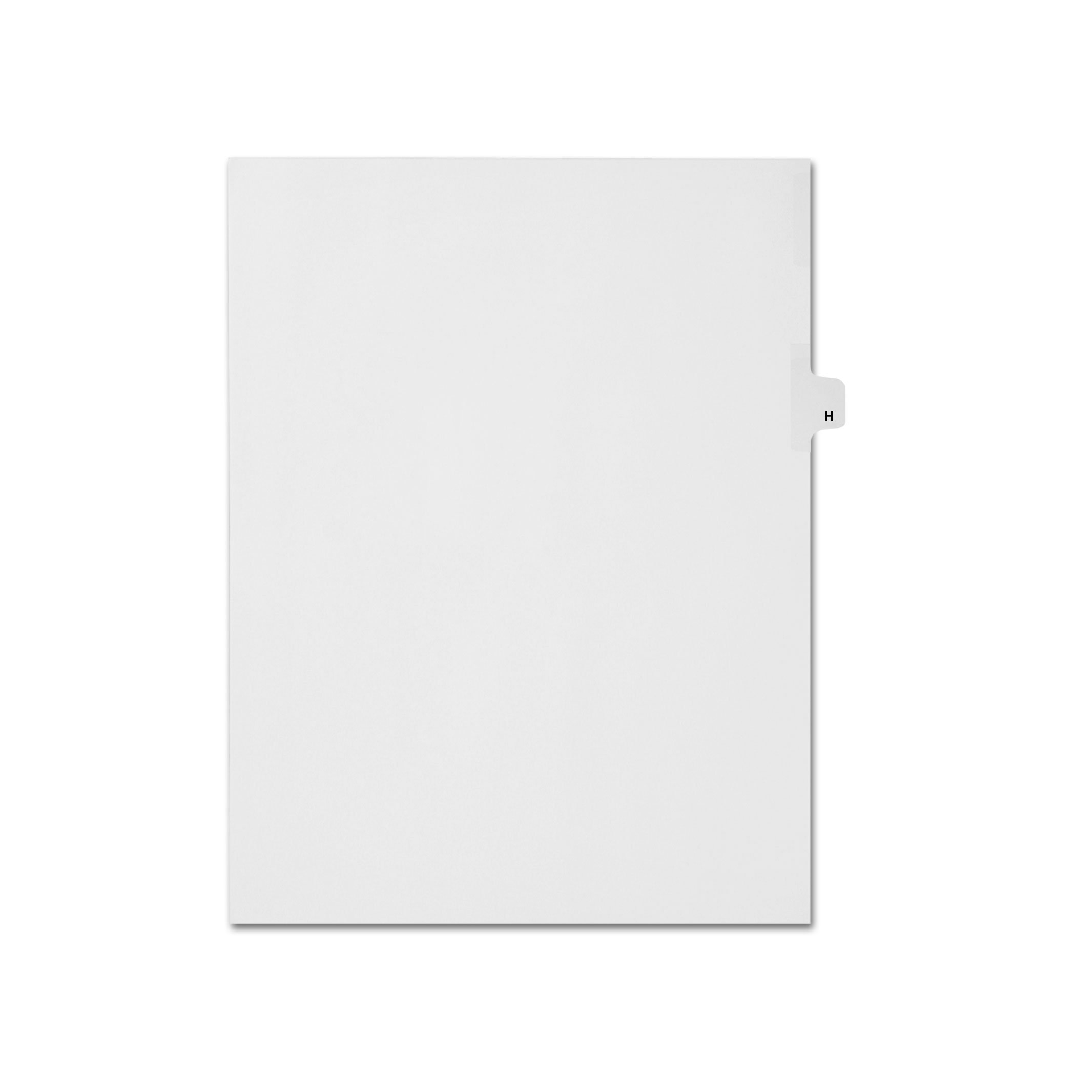 AMZfiling Individual Legal Index Tab Dividers, Compatible with Avery- Printed H, Letter Size, White, Side Tabs, Position 8 (25 Sheets/pkg)