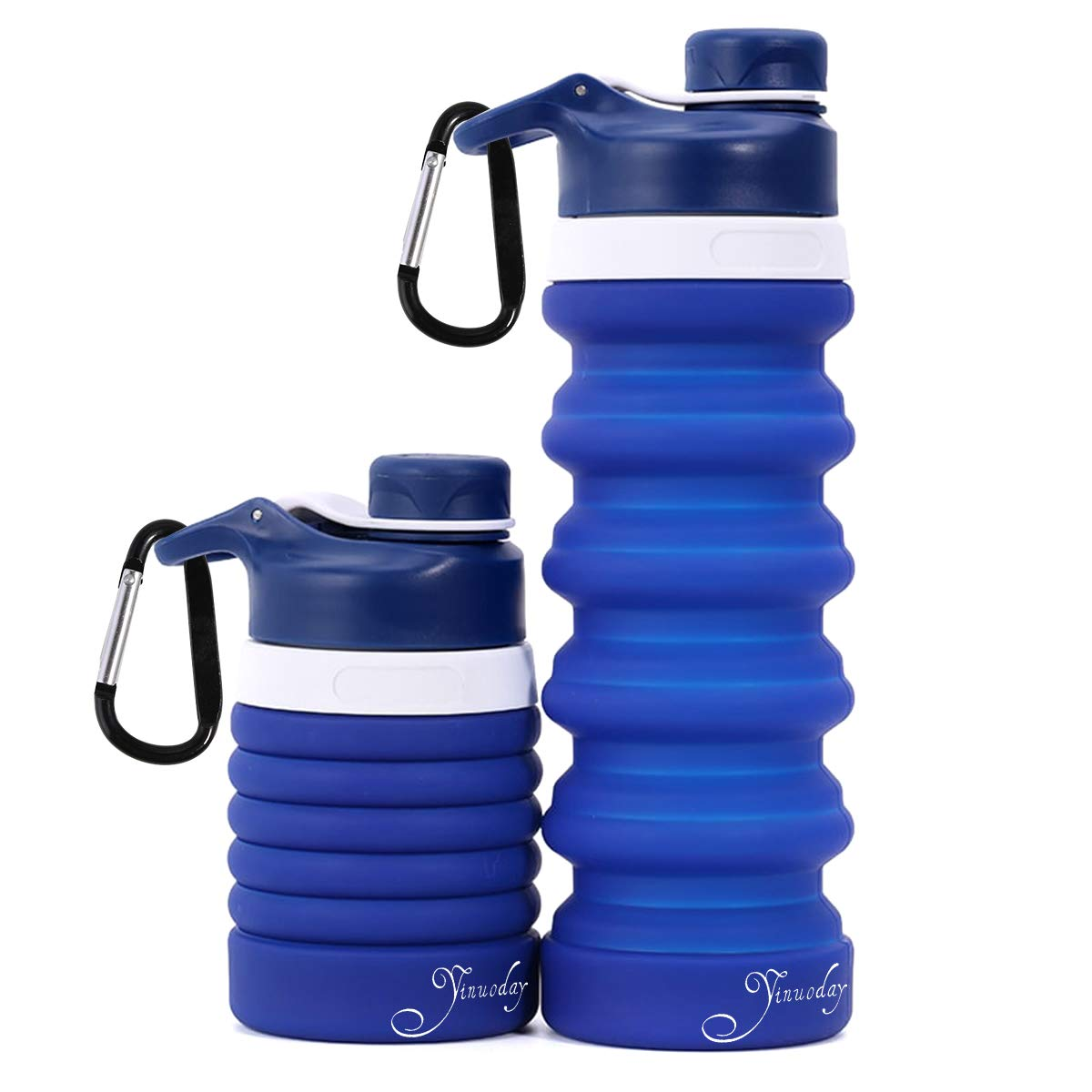 Yinuoday Silicone Collapsible Water Bottle with Carabiner BPA Free - Foldable Spiral Retractable Water Bottle with Leak Proof Silicone Lids for Outdoor,Travel,Camping and Hiking,Cycling Running