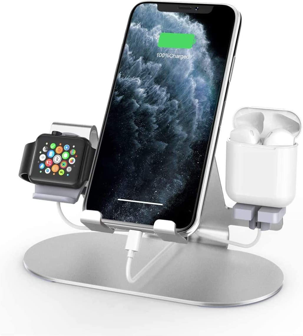 Charging Station Compatible with Apple Watch iPhone & AirPods Pro, 3 in 1 Apple Watch Stand for iPhone 12/11 Series/Xs/X Max/XR/X/8/ 8P/7/7P/6S/6S Plus, iWatch 6/SE/5/4/3/2/1 (Silver)