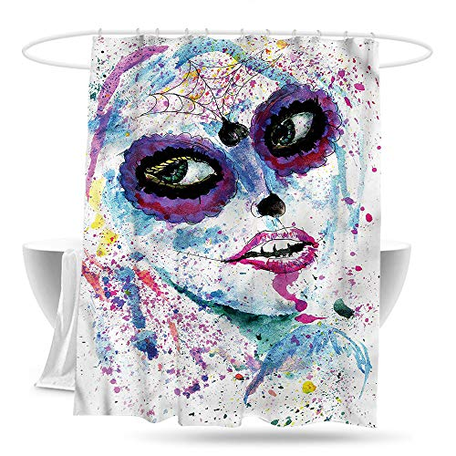 Sweet decoration Custom Shower Curtain Girls Halloween Lady Make Up Waterproof Colorful Funny 59in×70in]()