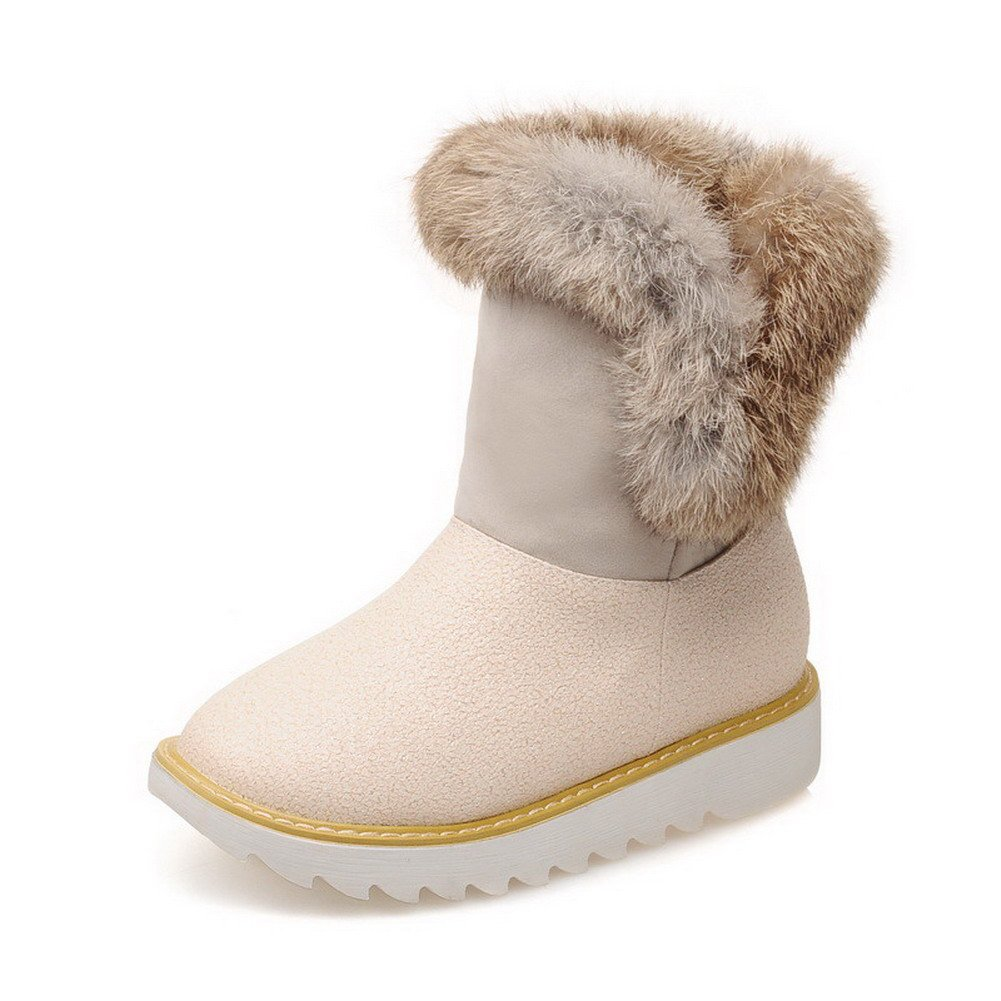VogueZone009 Women's Assorted Color Xi Shi Velvet Boots with Fur-lined, Beige, 40