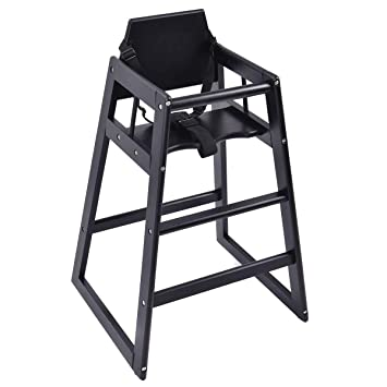 bc47d4b163ce Amazon.com : HONEY JOY Wooden High Chair, Infant Feeding Chair with Safety  Harness, Commercial Natural Wood High Chair for Babies and Toddlers (Black)  : ...