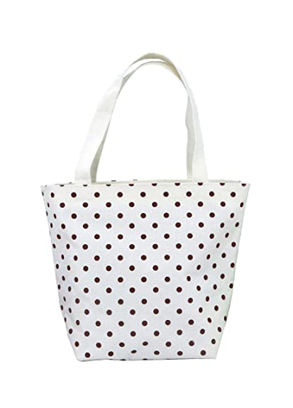 725a271ad2 Amazon.com  Nuni Polka Dot Pattern Waterproof Canvas Tote Lunch Bag Small  Size Beige (brown)  Shoes