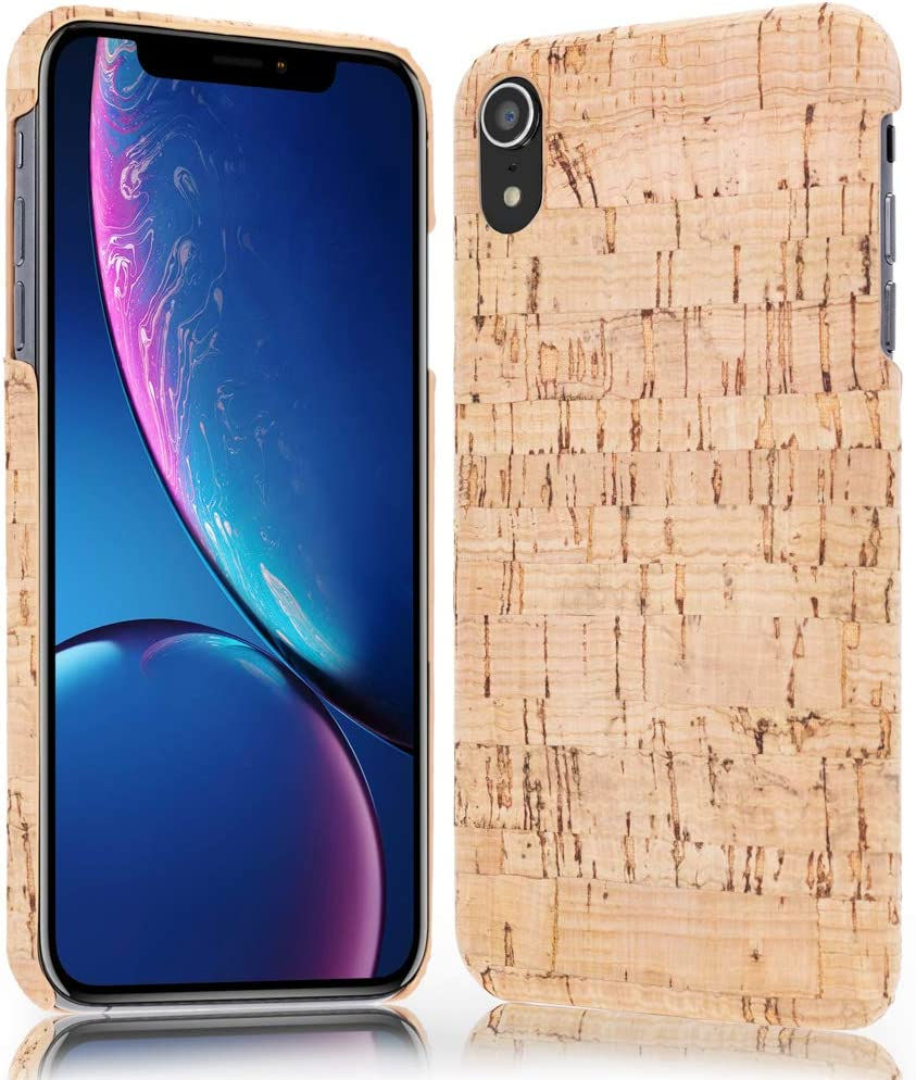 NALIA Cork Case Compatible with iPhone XR, Ultra-Thin Wood Look Back-Cover Protector Natural Design, Slim-Fit Protective Hardcase Skin Shock-Proof Bumper, Smart-Phone Etui, Designs:Light Cork