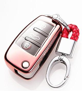 YUWATON Funda para Llave de Coche con Mando a Distancia para Audi, A1, A3, A5, Q3, Q7, Carcasa para Llave, Llavero Rosa