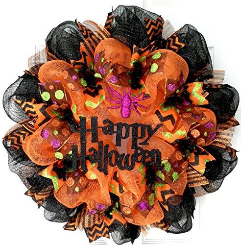 Glittering Gothic Happy Halloween Handmade Deco Mesh Wreath with Purple Spider