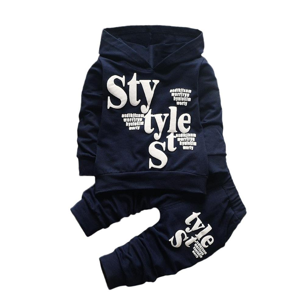 1-5 Years Old Baby Outfits , Janly® Boys Girs Style Letters Printed Hooded Tops Sweatshirt Long Pant Toddler Kids Sports Clothes Suits