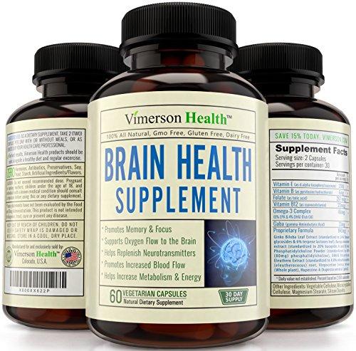 Nootropos cerebro función Booster - memoria, presente y enfoque potenciador - promueve la concentración, claridad, cognición y rendimiento Mental. Mejor suplemento con Ginkgo Biloba, Omega 3, DMAE, vitaminas y más