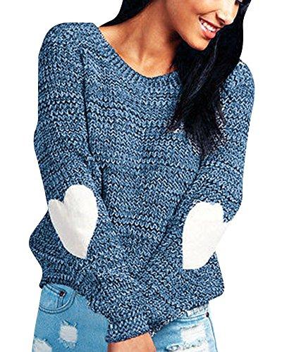 Stampate Manica Girocollo Ragazza Oversize Camicie Maglia Elegante Magliette Tumblr Invernale Top Sweater Knit Tinta in Cuore Unita Donna Pullover Bluse Moda Maglia Blu Maglioni Lunga Landove Maglione qUzta
