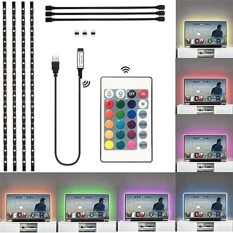 Tira de luces LED para televisor, impermeable, Bies USB, 5050 RGB ...