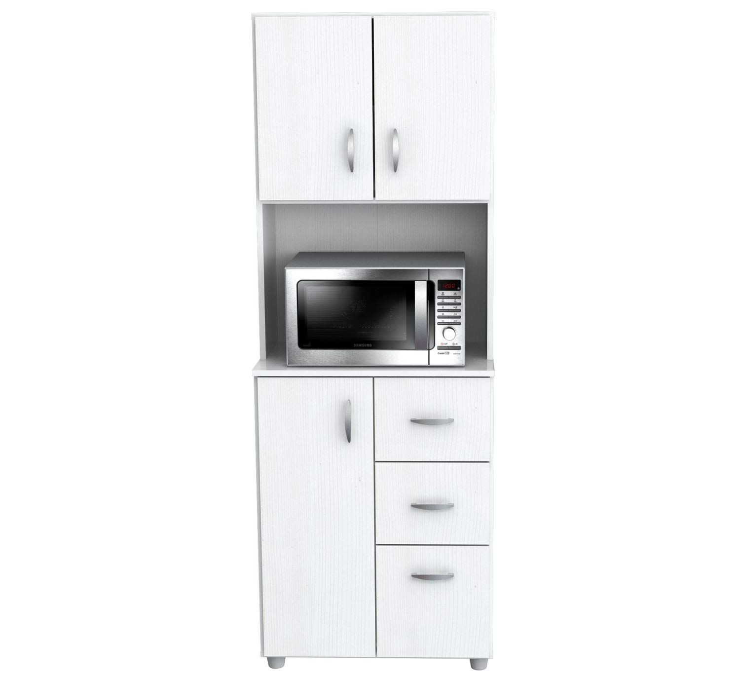 66'' Kitchen Pantry - Contemporary Tall Microwave Stand - Modern Storage Organizer with 3 Doors, Open Shelf and 3 Drawers