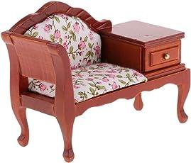 Baosity 1/12 Casa de Muñeca Miniatura Mini Sofá con Cajón Mueble de Dormitorio de Sala de Estar