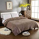 YEVEM Warm Thick Flannel Blanket Solid Color Quilted Bedspreads Bed Cover Bed Sheet Coverlet Twin Full Queen Size (Coffe, Queen)