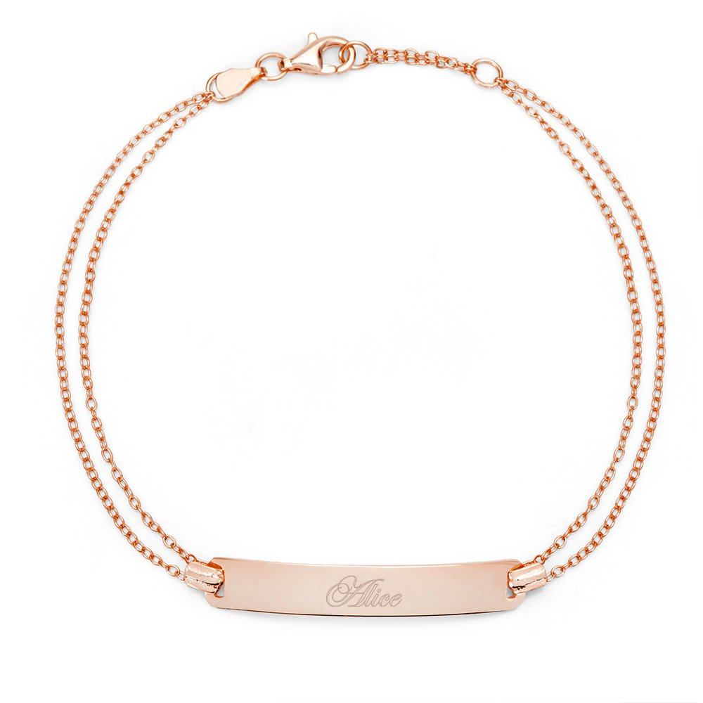 Engravable Rose Gold Plated Name Bar Bracelet, 7 inches