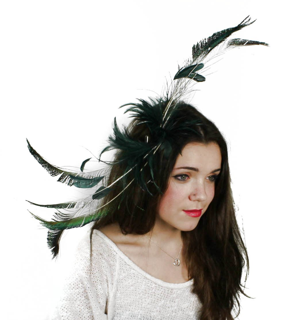 Hats By Cressida Black & Peacock Teal Green Feather Kentucky Derby Fascinator Hat With Headband