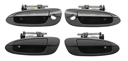 Door Handles Outside Smooth Black Front & Rear Kit Set of 4 for 02-06 Altima