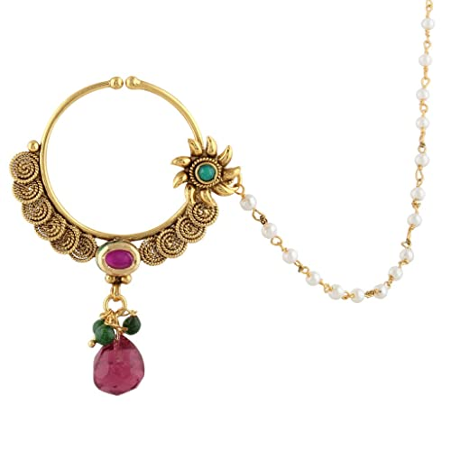 4d4a813ac20b5 Amazon.com: Rani Pink Green Bridal Jewelry Set Pierced Nose Ring ...