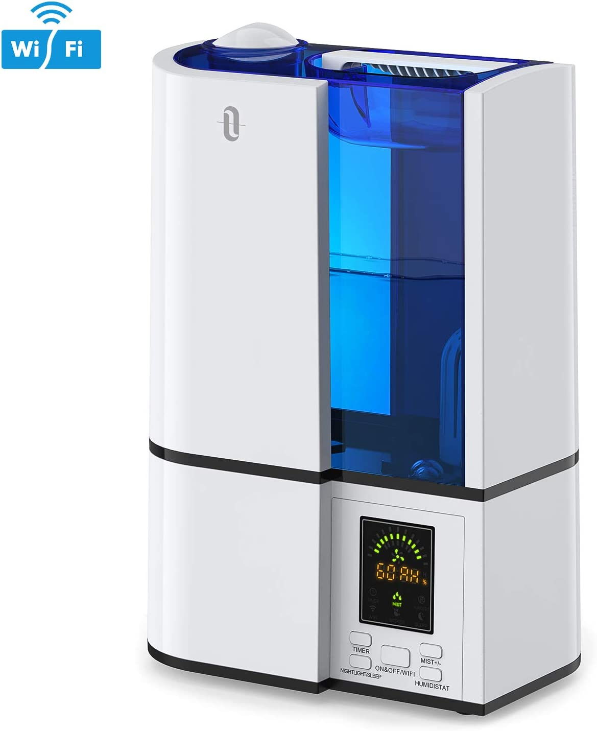 TaoTronics TT-AH019 Smart Bedroom, Work with Alexa and Google Home, Phone App & Voice Control Ultrasonic Cool Mist Humidifier, LED Display, Auto Shut-Off (4L/1.06gal, US 110V), 4. White-WiFi