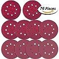 Paxcoo 76 Pcs 8 Holes Sanding Discs, 5 Inch Hook and Loop include 40/ 60/ 80/ 100/ 120/ 180/ 240/ 320/ 400/ 800Grit Sandpaper for Random Orbital Sander