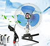 QXXZ Portable Auto Car Adjustable Oscillating Fan, 12V Volt Fans Desktop Personal Fan With Clip Cigarette Lighter Plug