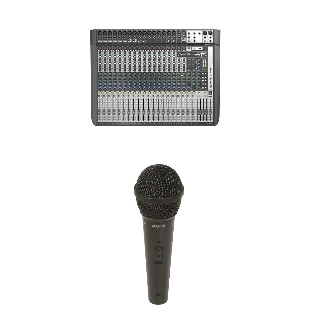 Soundcraft Signature 22MTK Mixer with 3 Peavey PV7 microphones and 3 AmazonBasics XLR cables