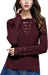 Twippo Women Knit Sweater High Low Hem Lace Up Front
