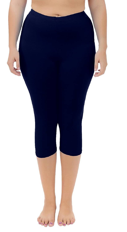 Goodsaleok Women's Leggings Capri 3/4 Length Pure Color Plus Size Modal Breathable