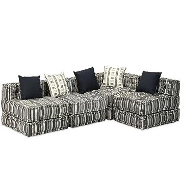 vidaXL Schlafsofa 4-Sitzer Stoff Gestreift Sofa Bettsofa Couch ...
