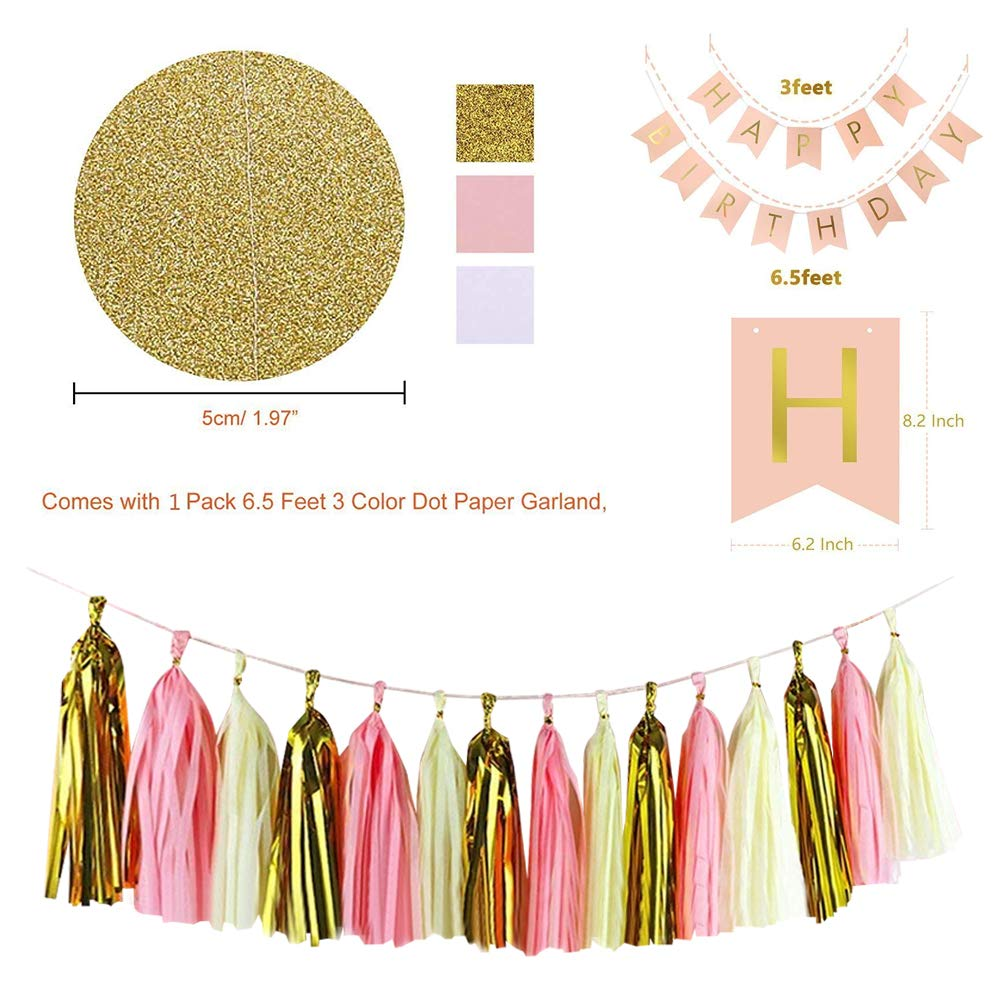 Hanging Swirl for 1st Birthday Girl Decorations Kids Birthday Set Pom Poms Flowers Paper Garland 48 pcs Happy Birthday Party Decorations Supplies- Gold and Pink Balloons Birthday Banner Tassels HUATK