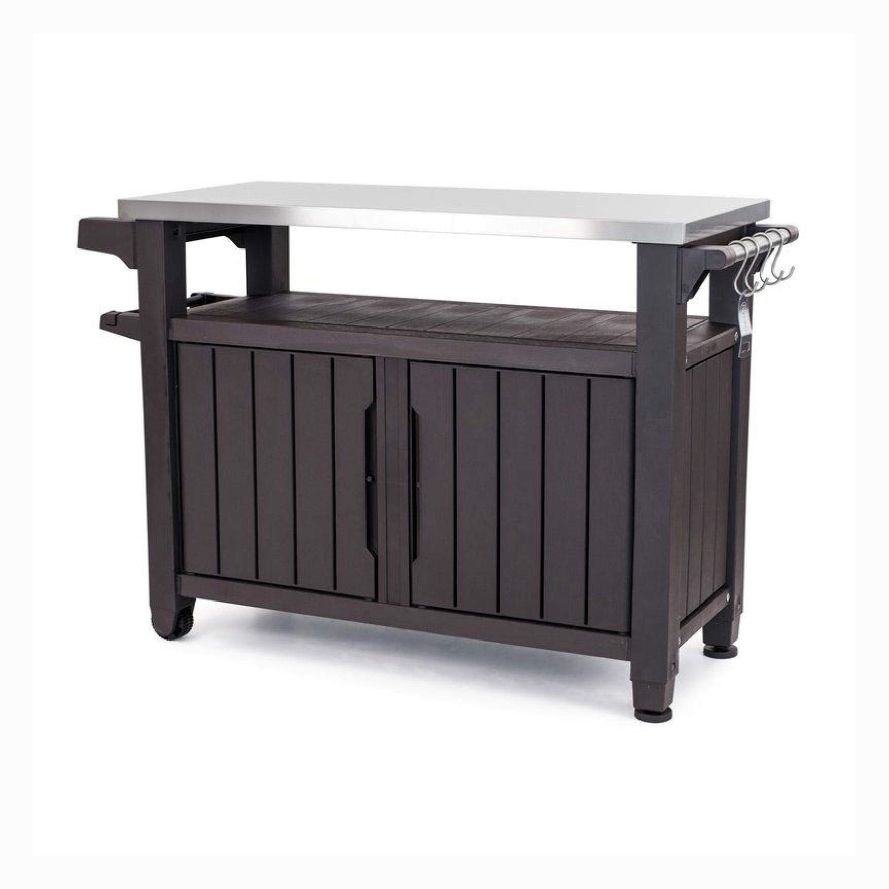 Patio Tables, Outdoor Grill Party Caster Bar Serving Cart with Storage Dark Brown by HEATAPPLY
