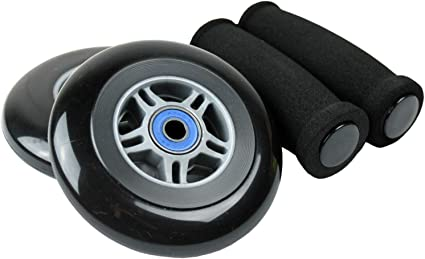 Razor Scooter Replacement Wheels 100mm with Hand Grips Green Wheels /& Grips
