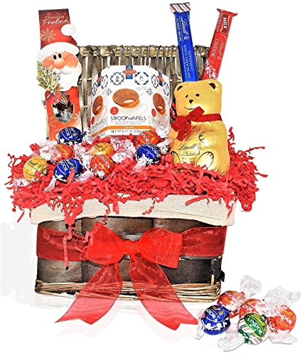LINDT Christmas Chocolate Variety GIFT BASKET - Lindt Teddy Bear, Lindor Truffles,Peppermint Stick, Santa - Send a Prime Basket for Man, Woman & Families ,Offices , Military (Holiday Gift Basket)
