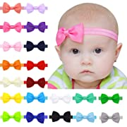 Ribbon Baby Headbands with Hair Bow for Newborn,Infant,Toddler and Baby Girls,Elastic and Soft Head Wrap(20Pcs)